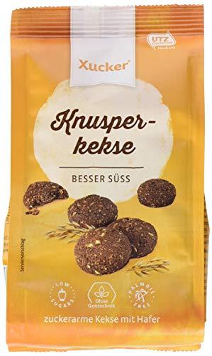 Xucker Knusper-Kekse mit Vollmilch Schokolade - Knusprige Haferkekse mit Schokolade I gesüßt mit Xylit & Erythrit I Zuckerarme Schokoladen-Cookies (125g)