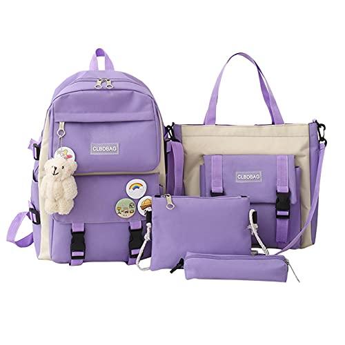PROKTH Schulrucksack Mädchen Schultasche,Kawaii Bär Anhänger Rucksack, Vierteiliger Rucksack Für Schulmädchen (Rucksack + Handtasche + Federmäppchen + Diagonaltasche)
