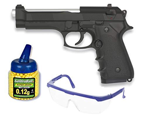 + Gas Pack Pistola airsoft M92F 18398//21993//23054 Funda Portabalines Funcionamiento por gas Calibre 6mm 1000 bolas