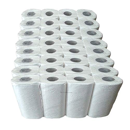 Küchenrollen 3-lagig, Küchenpapier hochweiß, Handtuchrolle aus 100% Zellstoff, Haushaltspapier, Küchenkrepp, 3-lagig, Menge:32 Rollen