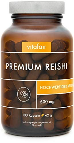 VITAFAIR Reishi Extrakt Kapseln (20:1 Verhältnis mit 500mg), German Quality - 100x Reishi Pilz Kapseln, Ganoderma Lucidum Extrakt (30% bioaktiven Polysaccharide), vegan & ohne Zusatzstoffe