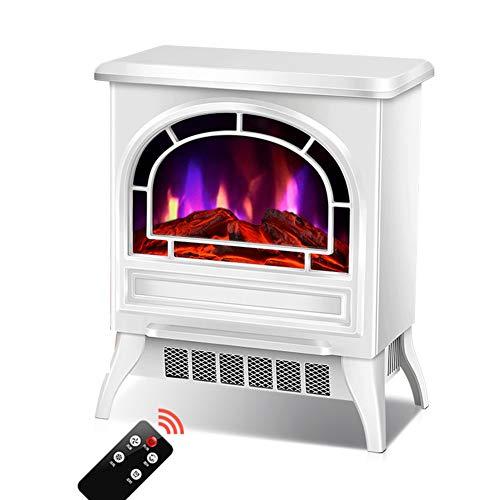 LYzpf Elektro Kamin Kaminofen Flammensimulation Fernbedienung Elektrischer Heizung Kaminfeuer Elektrokamin Heizlüfter Heizer Ofen für Wohnzimmer Büro Zuhause,White