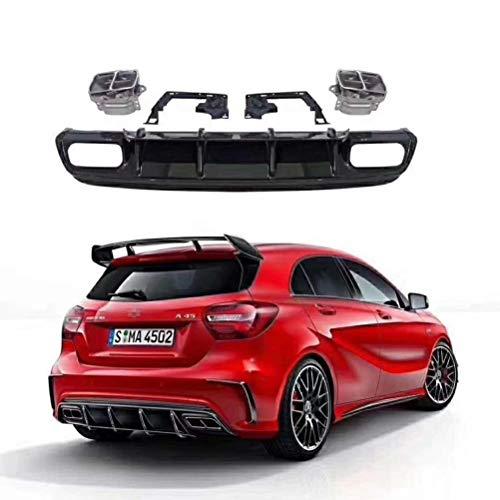 wuwenjun Paraurti Posteriore diffusore ABS per Mercedes W176 Classe A A180 A200 A250 Sport Edition 13-17 A45 AMG con Punte di Scarico in Acciaio Inossidabile