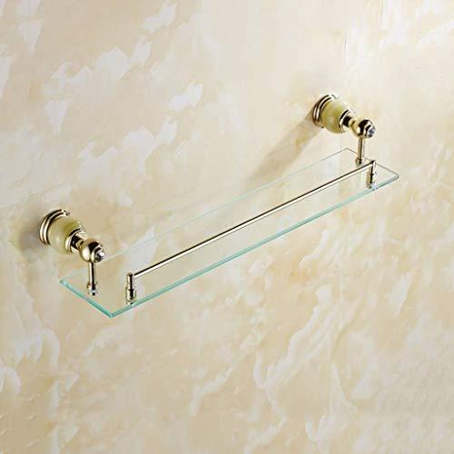 Estante de cristal de cobre completo para baño, espejo de baño frontal, 1 nivel de piedra de jade para cosméticos, estante de baño (color: jade cobre)