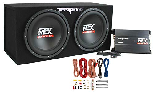 MTX TNP212D2 12-Inch 400-Watt RMS Dual Loaded 1200-Watt Car Subwoofer Enclosure Audio with Sub Box, Mono Block Amplifier, and 8 Gauge Amplifier Amp Complete Wiring Installation Kit