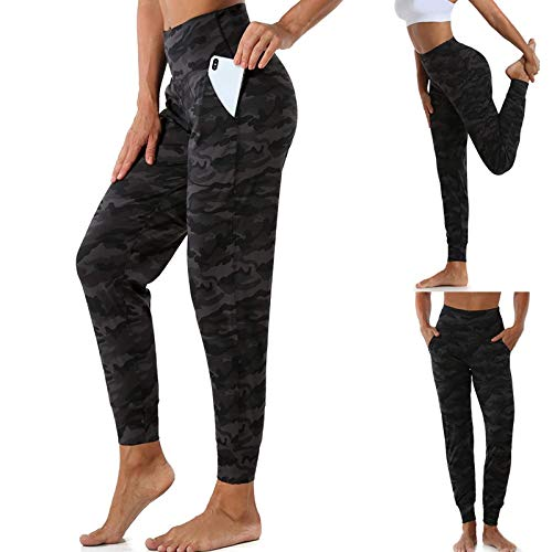 LWWOG Women's Stretch Yoga Leggings Quick-Drying Camouflage Pockets Elastic Comfortable Breathable Fitness Running Gym Sports Pockets Active Pants