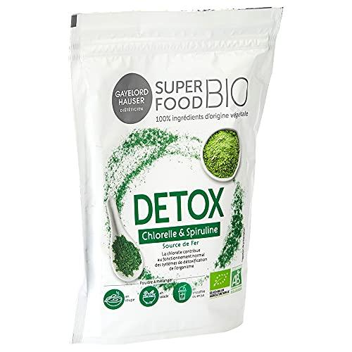 GAYELORD HAUSER Superfood Bio – Poudre Detox à Diluer – Chlorelle et Spiruline – Mélange de Superaliments Source de Fer – 1 doypack 200 g