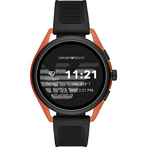 Emporio Armani Smartwatch para Hombre Connected Gen 5 Matteo, Caja de Aluminio roja y Correa de Goma Negra ART5025