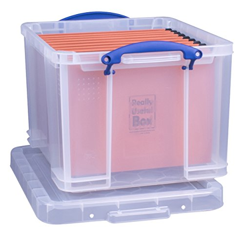 Really Useful Box 35 Liter Office Aufbewahrungsbox mit + 10 Hängemappen, transparent