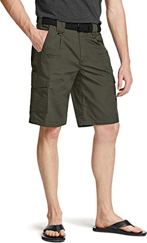 CQR Pantalones cortos cargo para hombre, ligeros, holgados, informales, para exteriores, elásticos, multibolsillos Tsp203 1pack - Green 32