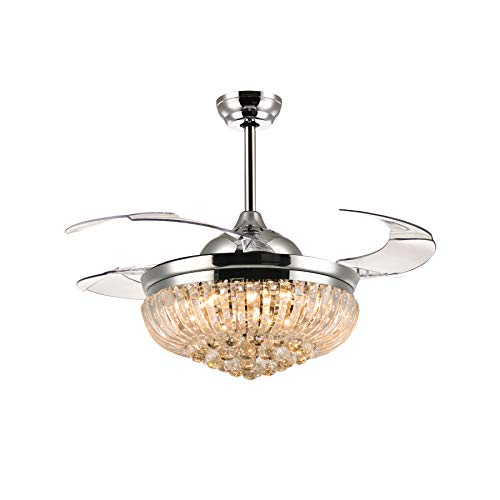 Moooni Dimmable LED Fandelier Crystal Retractable Ceiling Fans with Lights and Remote Invisible Chandelier Fan -Polished Chrome 42 Inch