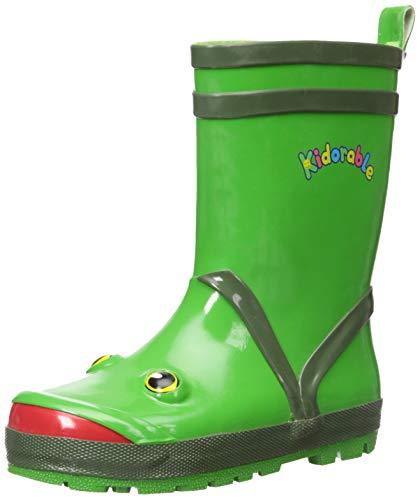 Kidorable Boys Frog Rubber Rain Boots, Green, 13 M US Little Kid