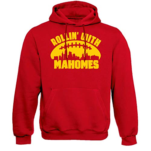 Xtreme Apparrel Rollin with Mahomes Kansas City Skyline Hoodie Sweatshirt (S) Red