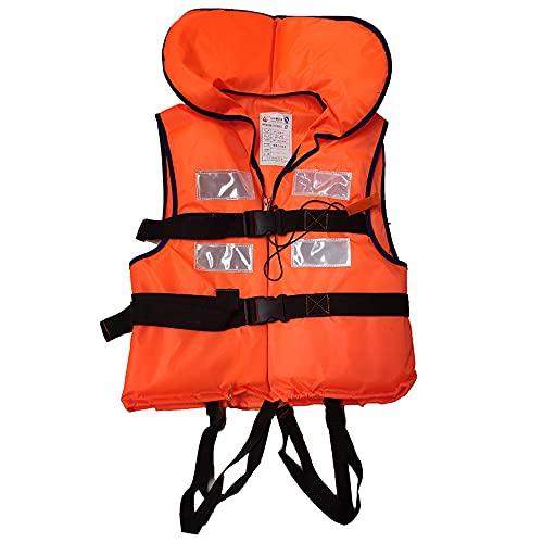 Haihui Chaleco salvavidas para niños y adultos, chaleco salvavidas sólido, 100 N, para niños pequeños, niños, adultos, hombres y mujeres, color naranja, 90 kg, 46 x 53 x 4,5 cm