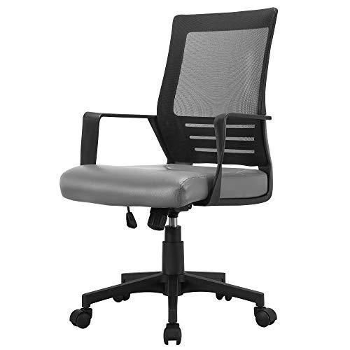 Yaheetech Bürostuhl, ergonomischer Schreibtischstuhl, höhenverstellbar Bürodrehstuhl,verstellbares Computerstuhl, Office Chair Sitzfläche aus Kunstleder und mit Netzrückenlehne Drehstuhl