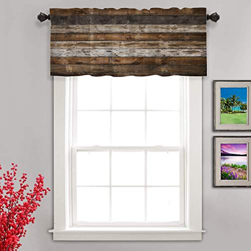 Shrahala Wood Rustic Color Kitchen Valances Half Window Curtain, Beach On Weathererd Wood Kitchen Valance for Window Ink Printing Kitchen Valances Curtains for Kitchen Decoration 52x18 inch