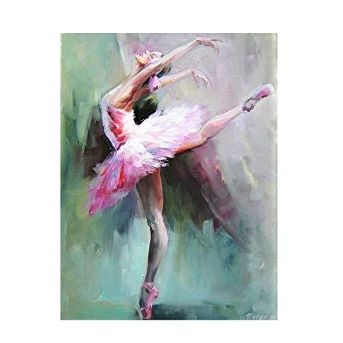 Impresión en lienzo Retrato de bailarina abstracta Pintura al óleo sobre lienzo Carteles e impresiones Imagen de arte de pared Sala de estar Decoración para el hogar 50x70cm / 19.6 'x27.5' Sin marco