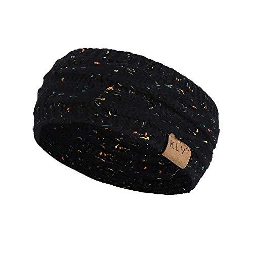 DDU Mode Serre-Tête Tricoté en laine acrylique doux-Bandeau de Cheveux pour Femme Couvre-Oreille Turban chaud en hiver,22 * 11cm Noir