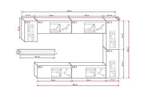 FUTURE 6 Moderne Wohnwand, Exklusive Mediamöbel, TV-Schrank, Neue Garnitur, Große Farbauswahl (RGB LED-Beleuchtung Verfügbar) (Weiß MAT base / Weiß HG front, Blau LED) - 2