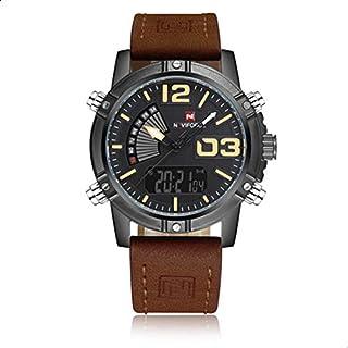 نافي فورس ساعة رياضية، رجال انالوج-رقمي جلد - NF9095.4