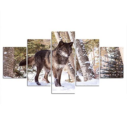 jukunlun 5-målad djur varg på skärmväggen, väggmålning-200 x 100 cm (ramlös)