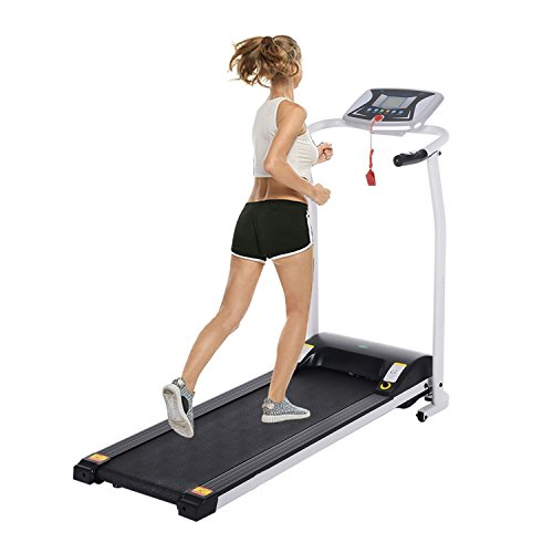 Creine Foldable Electric Treadmill, Portable Folding Motorized Running Machine Indoor Commercial Home Health Fitness Training Equipment with Wheels for Home Office Gym Fitness (US Stock) (White) Treadmills