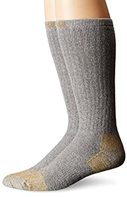 Carhartt Men's 2 Pack Full Cushion Steel-Toe Cotton Work Boot Socks, Grey, Shoe Size: 11-15