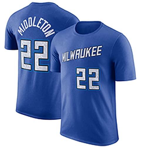 UIQB Bucks No. 22 Khris Middleton Camiseta de Baloncesto, versión de la Ciudad Chaleco de Competencia de los Hombres 100% poliéster Absorbente y Secado rápido, Adecuado p Blue-M