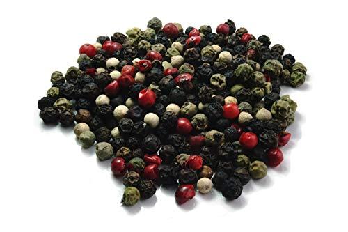 Bunter Pfeffer Mix, für die Mühle, feine Gewürz Mischung, Pfeffermischung mit Rosa Beeren, schwarzen, grünen und weißen Pfeffer Körnern, Gewürzzubereitung, Einzelpack/100g