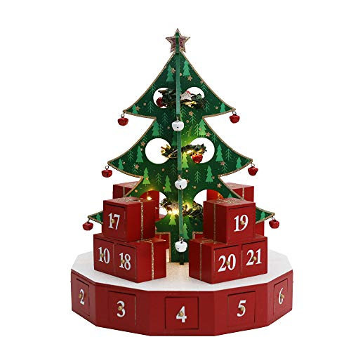 15 Inch Christmas Wooden Advent Calendar Tree with Drawers for Adults Kids Christmas Countdown Decoration with KD Tree (Red&Green with KD Tree)