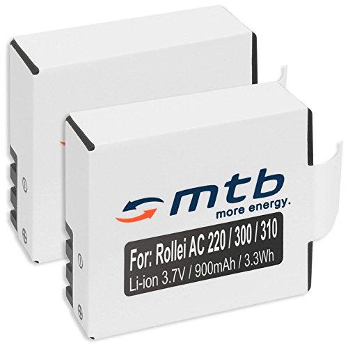 2X Baterías para Rollei Actioncam 220, 300, 300 Plus, 310, 330, 415