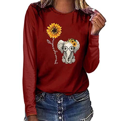 Lazzboy Sonnenblume Elefant Muster Damenmode Plus Size Print Rundhals Langarm T-Shirt Bluse Tops (Wein,2XL)
