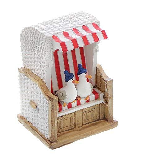 Topshop24you wunderschöne Urlaubskasse,Reisekasse Spardose Strandkorb rot/weiß gestreift mit Möwen und Gummistopfen