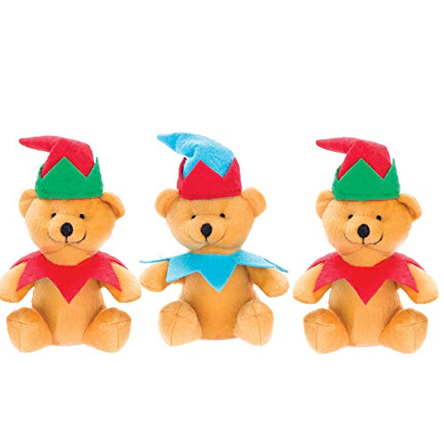 Baker Ross AV632 Christmas Elf Plush Bears, Cuddly Toys for Children to Play with Perfect Stocking and Winter Party Bag Fillers (Pack of 3), Assorted