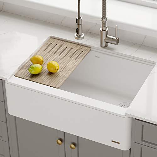 Kraus KGF1-30White Bellucci 30-inch CeramTek Granite Quartz Composite Farmhouse Flat Apron Front Single Bowl Kitchen Sink with Cutting Board, 30 Inch, White
