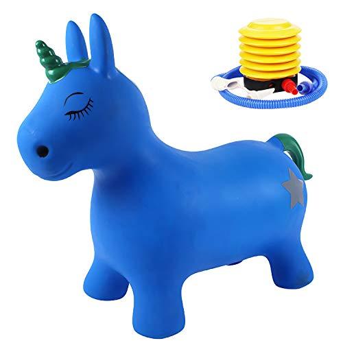 AJAMQ Animal Saltarín Unicornio con Bomba-Mejora El Equilibrio Y Capacidad Motora, Orejas como Soporte, Robusto Y Resistente, Peso Sostenible 50 Kg,Azul
