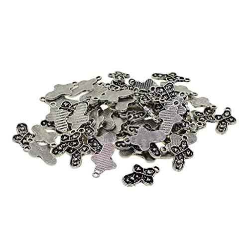 MagiDeal 100pcs Tibet Silver Cross W/Heart Charms Colgantes Fabricación de Joyas Llavero