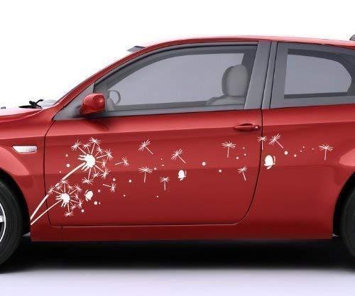 2x Autoaufkleber Pusteblume Löwenzahn Ranke Blume Auto Rosen Aufkleber 5E286, Farbe:Weiß Matt;Breite vom Motiv:100cm
