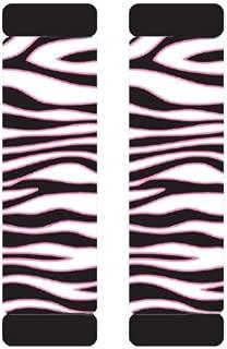 White Zebra Animal Print Safari w/ Black Stripes & Pink Trim Car Truck SUV Seat Belt Shoulder Pads - PAIR