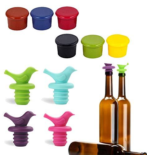 Tapones de Vino: Tapones de Vino de Silicona para Botellas de Vino, Tapones de Cerveza, Tapones de Goma Blanda, Tapones de Vidrio, Tapones de champán (10 Piezas)