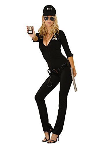 Elegant Moments Sexy FBI Agent Costume, Black, Large