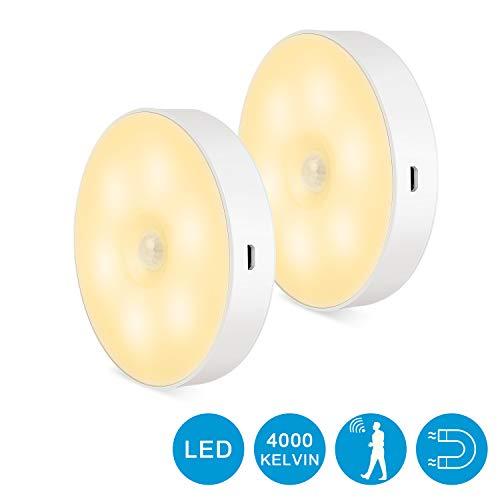 Zorara Nachtlicht mit Bewegungsmelder, 2 Stück Led Schranklicht USB Wiederaufladbar LED Sensor Licht Schrankbeleuchtung Batteriebetrieben Für Schlafzimmer Schrank Warmweiß [Energieklasse A+]
