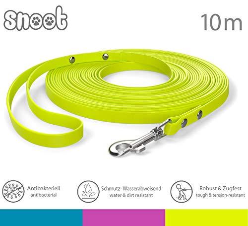 SNOOT 10m Schleppleine, Neon-Gelb, extra schmal, 10mm breit - zugfeste, schmutz- und Wasserabweisende Hundeleine mit Handschlaufe