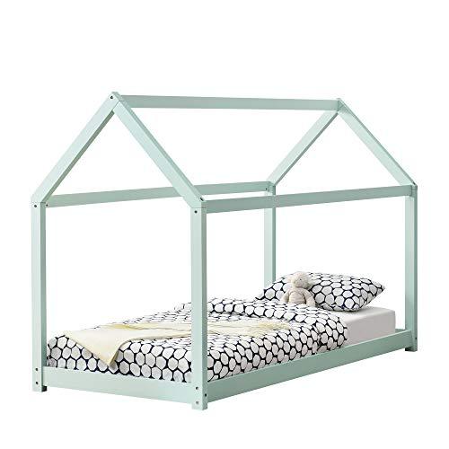 [en.casa] Cama para niños de Madera Pino - 200x90cm - Cama Infantil - Forma de casa - Color Verde Menta Lacado Mate
