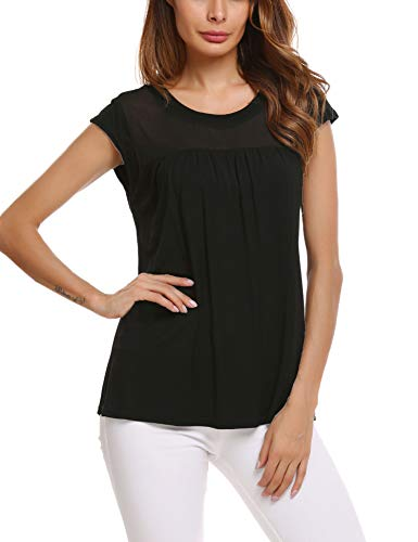 Zeagoo Womens Pretty Round Neck Cap Sleeve Shirts Plain Fashion Tops Pleated Tunic Blouse (Black S)
