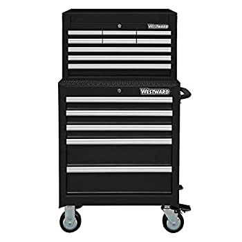 Westward 26 W Tool Chest and Cabinet Combination 14 Drawers Black 49-5/8 H