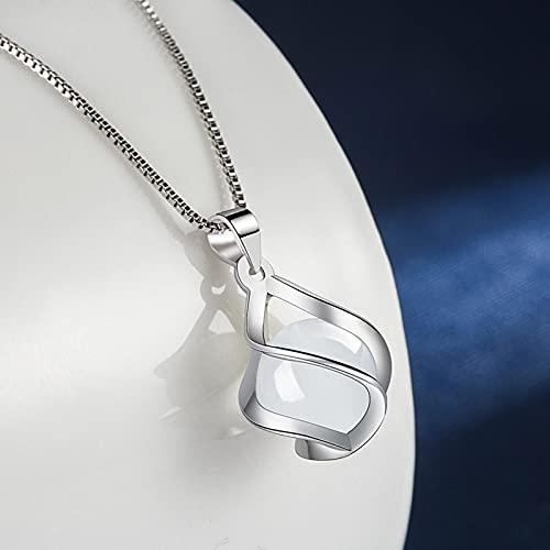 GoodLuck Plata de Ley 925 2021 Nueva joyería de Moda Collar con Colgante de ágata de ópalo Redondo Longitud 17 Pulgadas