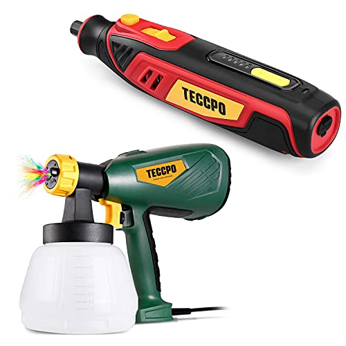 Paint Sprayer, TECCPO Up to 100DIN-s, 4 Nozzles, Spray Patterns, High Power HVLP Electric Paint Sprayer + 4V Mini Rotary Tool Kit, Cordless Rotary Tool, Easy to Operate, Suitable for Light Projects