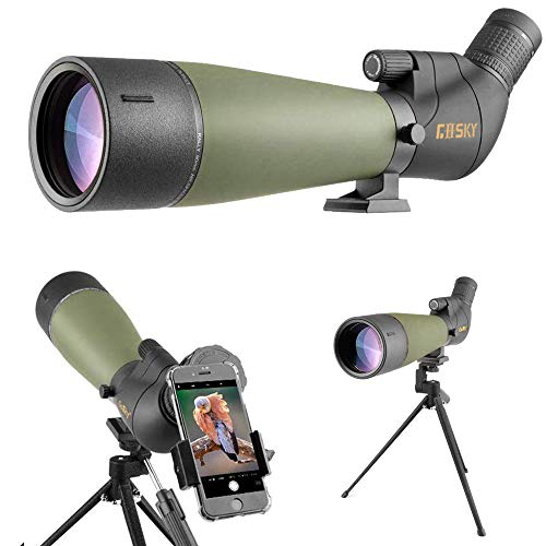 Gosky 2019 Updated 20-60x80 Spotting Scope with Tripod, Carrying Bag and Smartphone Adapter - BAK4 Angled Telescope - Newest...