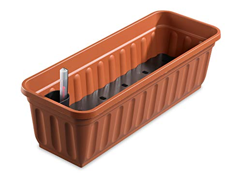 Alpfa Blumenkasten 100 cm Terracotta mit Wasserspeicher Made IN Germany